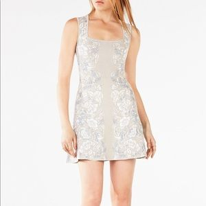 BCBG Wilma Blue/Gray Floral Jacquard Bandage Dress